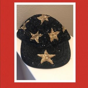 Vintage sequin baseball hat with stars